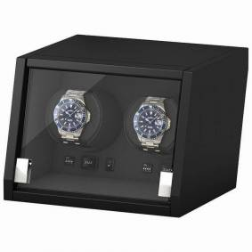 Beco Boxy Castle - Svart watchwinder til to klokker med innebygget LED-lys