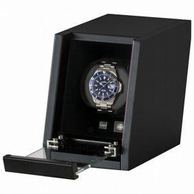 Beco Boxy Castle - Liten svart watchwinder med LED-lys til én klokke