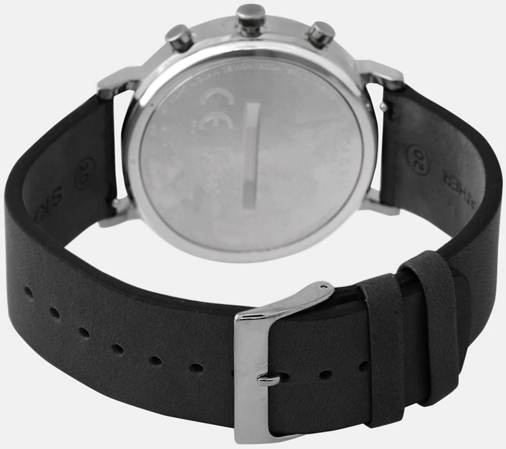 Skagen Black leather strap for Skagen Connected Hald Smartwatch Hybrid SKT1205