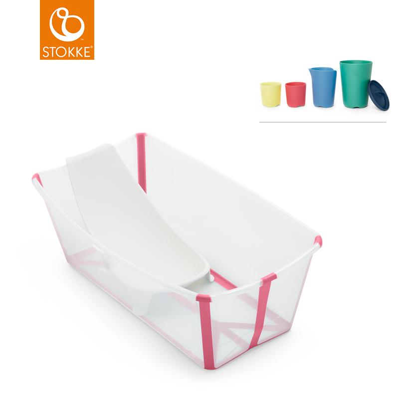 Stokke, Flexi Bath bundle, transparent pink inkl. toy cups