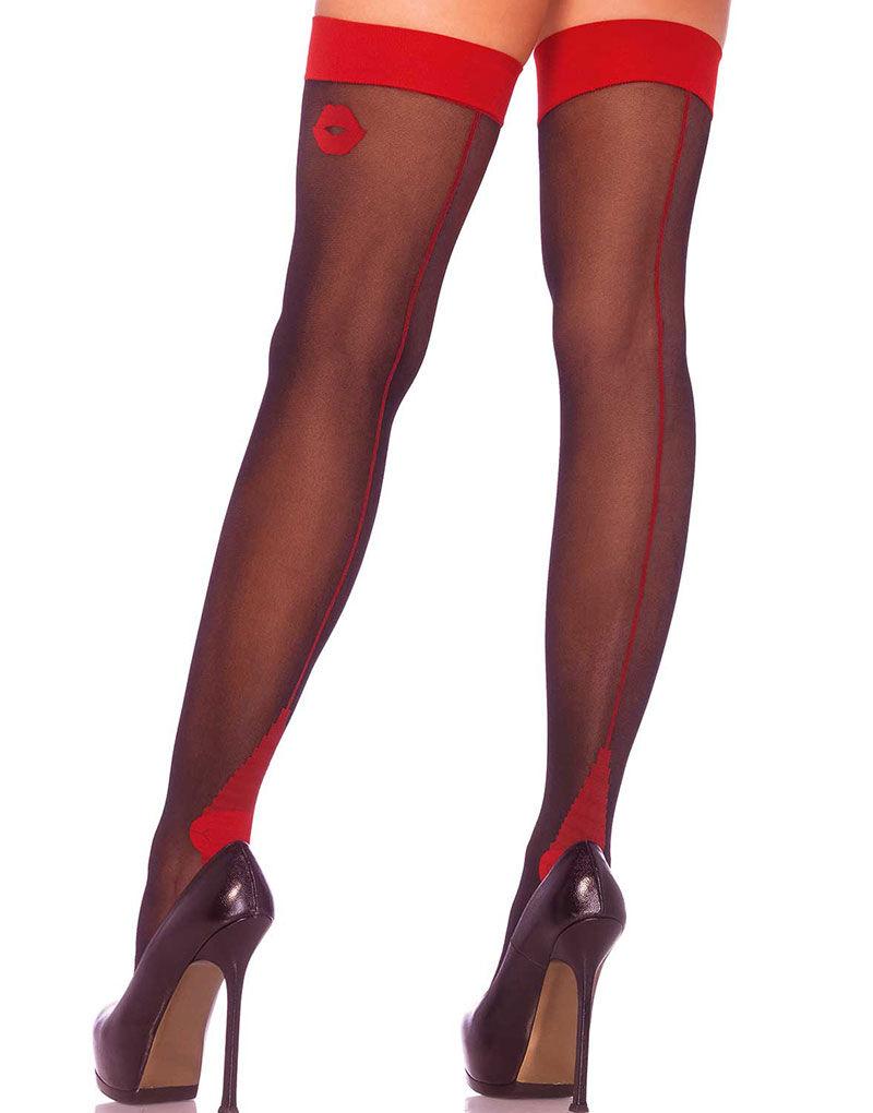 Cuban Heel Strømper i Svart og Rød