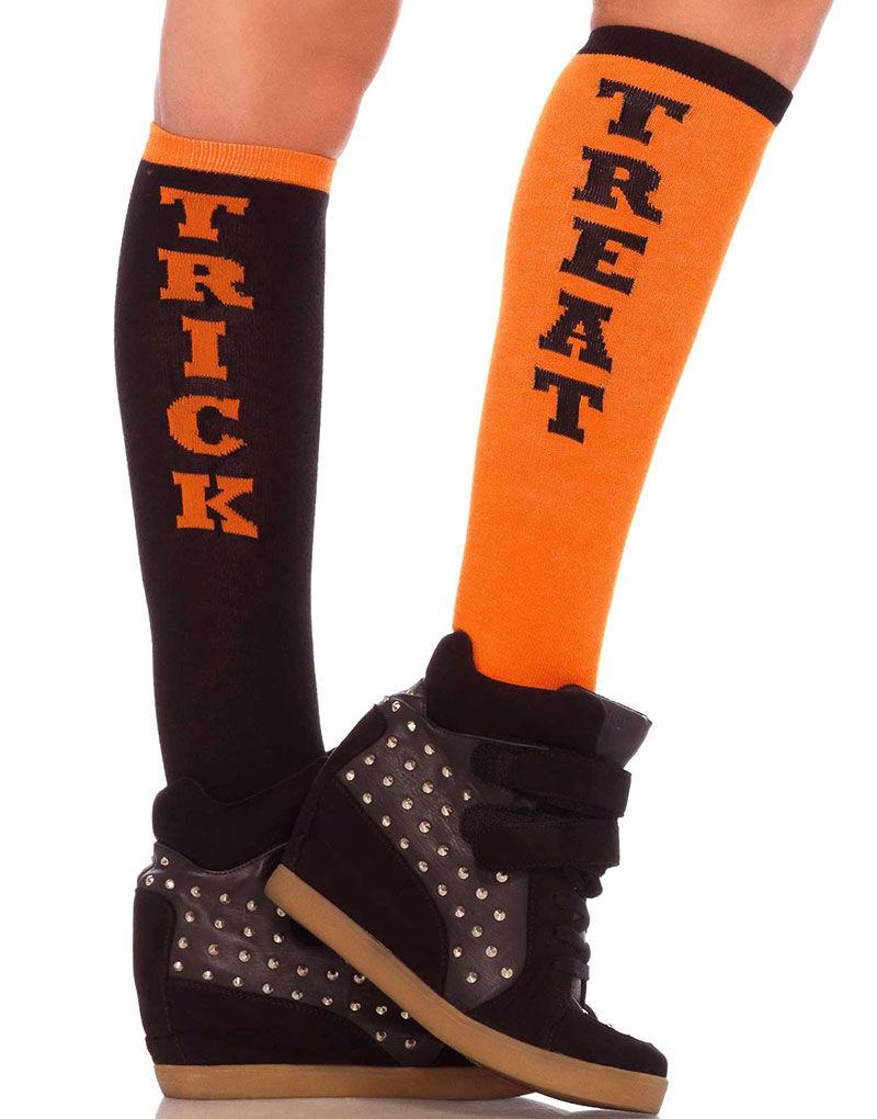 Trick or Treat - Svarte og Orange Knestrømper