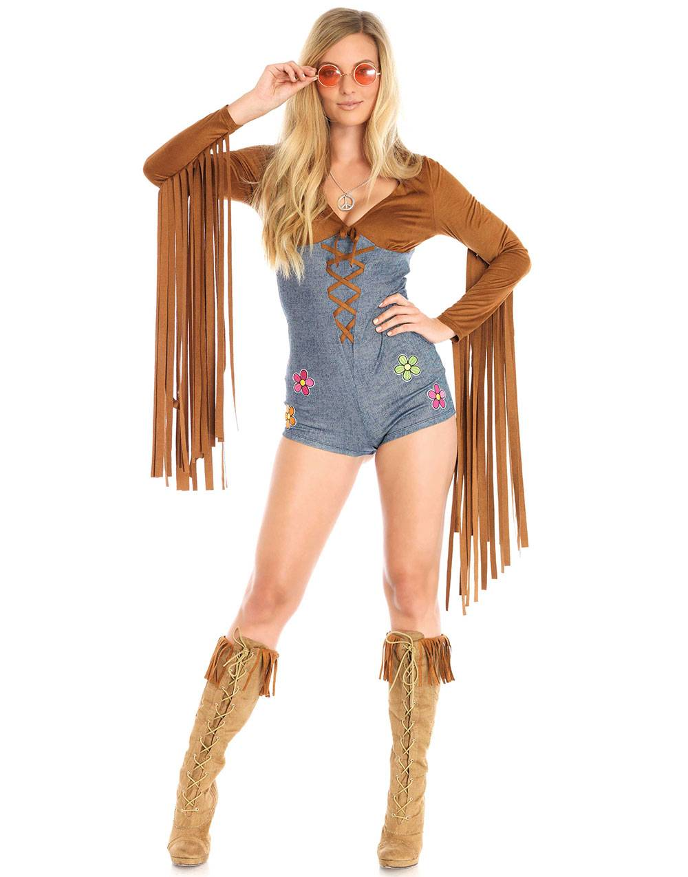 Hippie Babe Kostyme med Smykke