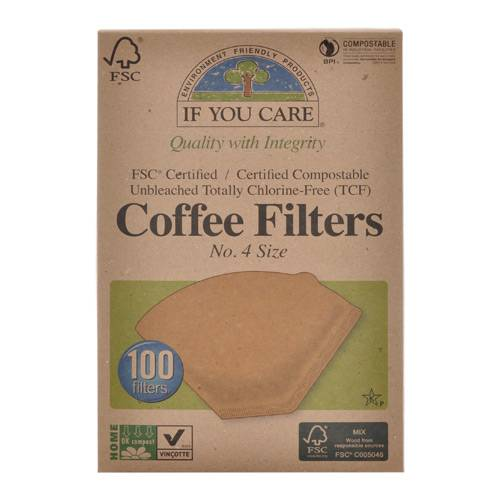 If you care Kaffefilter Ubleget No. 4 - 100 stk