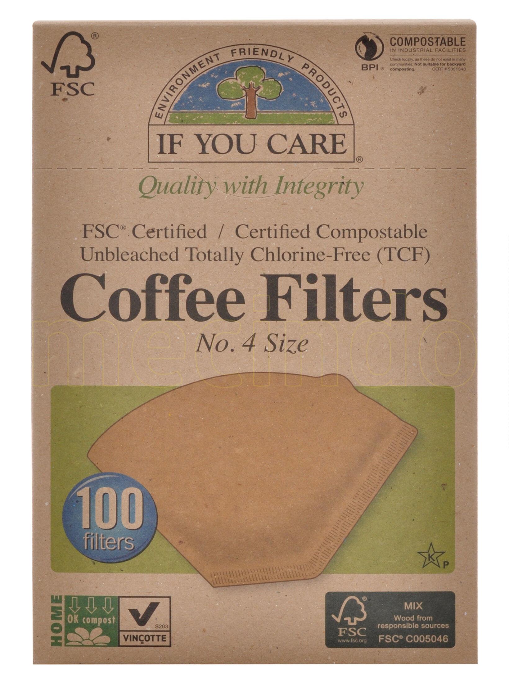 If you care Kaffefilter Ubleget No. 4 - 100 stk