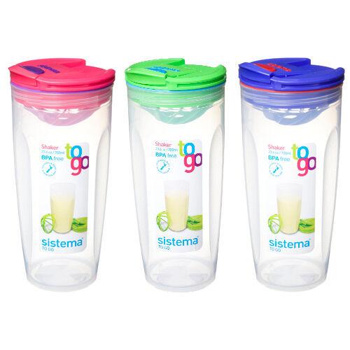 Sistema Shaker To Go Ass. Mørkeblå Lilla, Pink, Grøn, Lyseblå - 700 ml