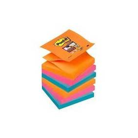 3M Post-it 76 x 76mm Orange, rosa, blå - Super sticky