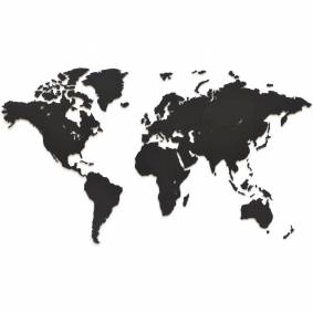 MiMi Innovations Verdenskart tre veggdekorasjon Luxury svart 90x54cm