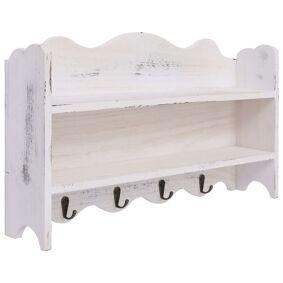 vidaXL Veggmontert garderobepanel hvit 50x10x30 cm tre