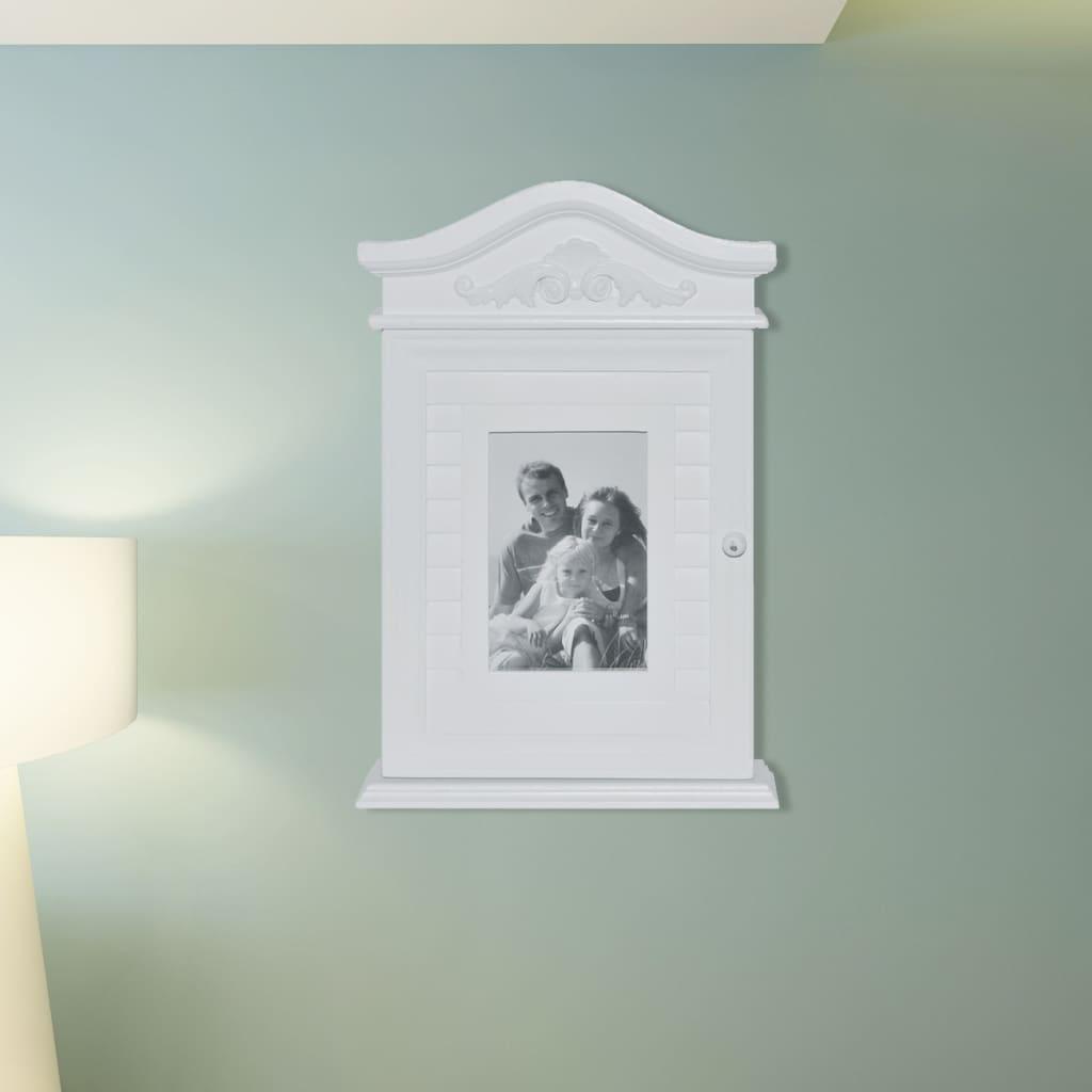 vidaXL Nøkkelskap med fotoramme hvit