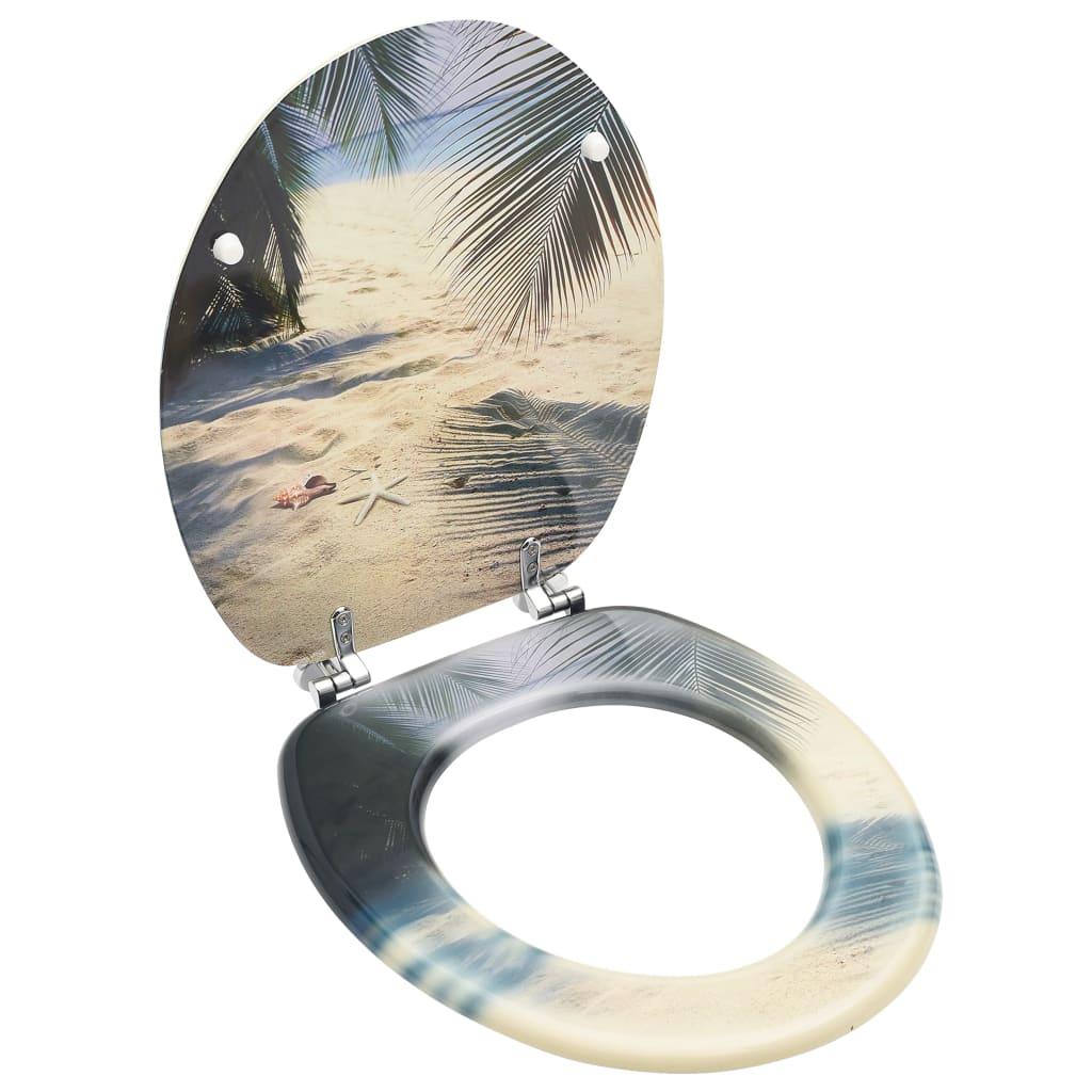 vidaXL WC Toalettsete med lokk MDF stranddesign