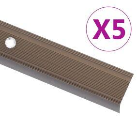 vidaXL Trappeneser L-form 5 stk aluminium 90 cm brun