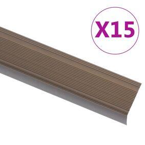 vidaXL Trappeneser L-form 15 stk aluminium 90 cm brun