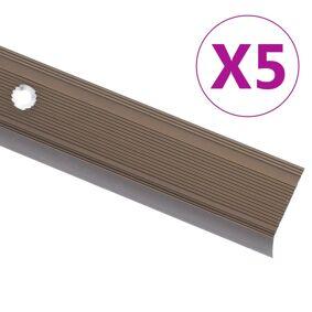 vidaXL Trappeneser L-form 5 stk aluminium 100 cm brun