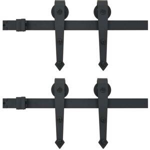 vidaXL Utstyr for skyvedør 2x183 cm stål svart
