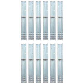 vidaXL L-formede jordankre 12 stk galvanisert stål 5x5x50 cm