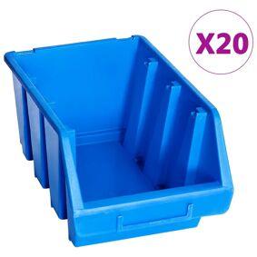vidaXL Oppbevaringsbokser stablebare 20 stk blå plast