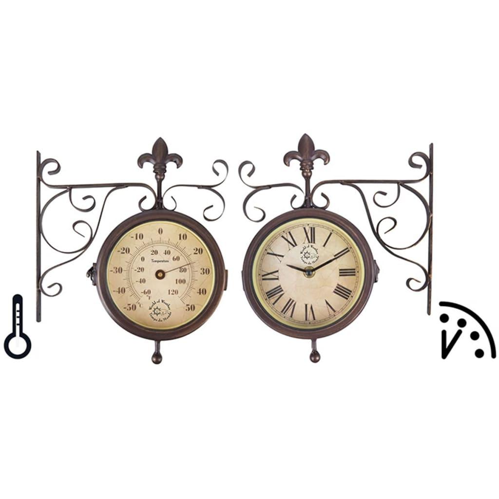 Esschert Design Stasjonsklokke med termometer TF005