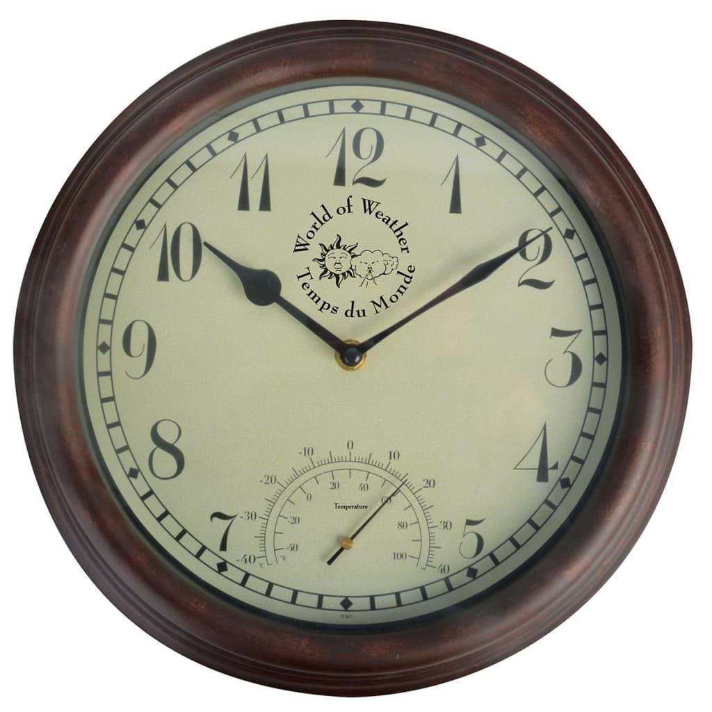 Esschert Design Stasjonsklokke med termometer 30,5 cm TF007