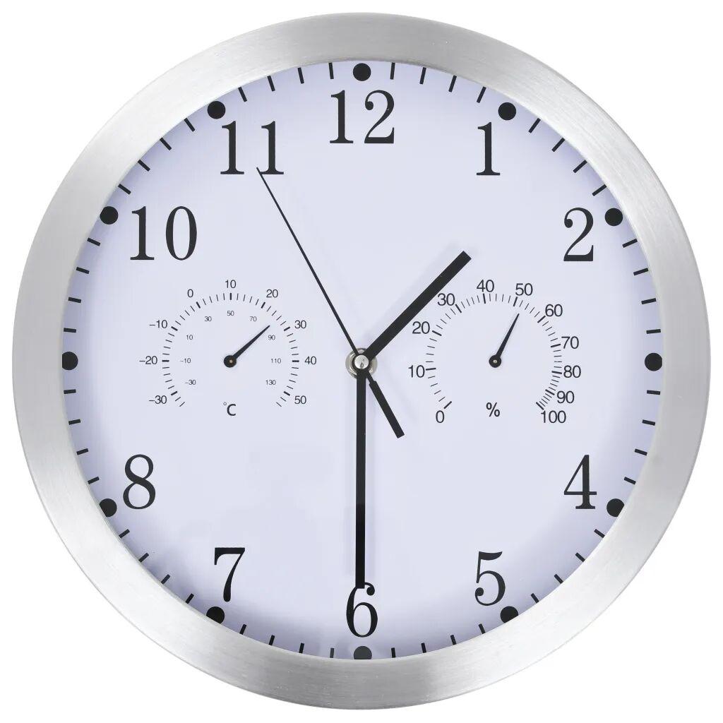 vidaXL Veggur med kvartsurverk hygrometer og termometer 30 cm hvit