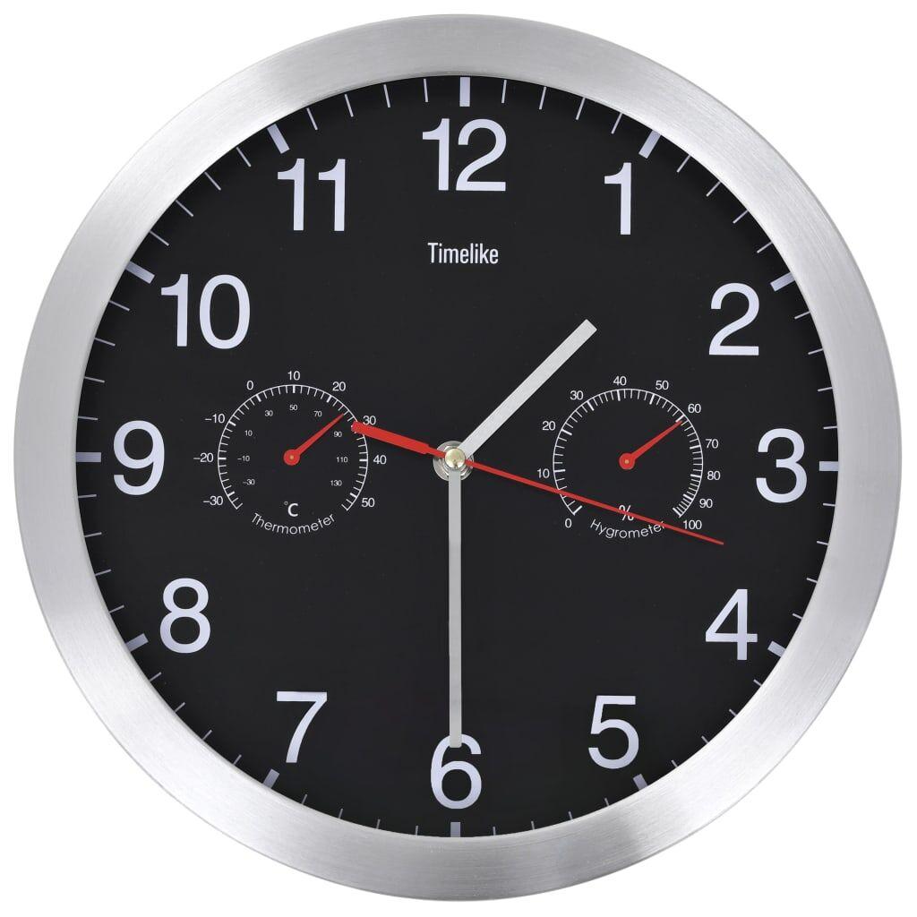 vidaXL Veggur med kvartsurverk hygrometer og termometer 30 cm svart