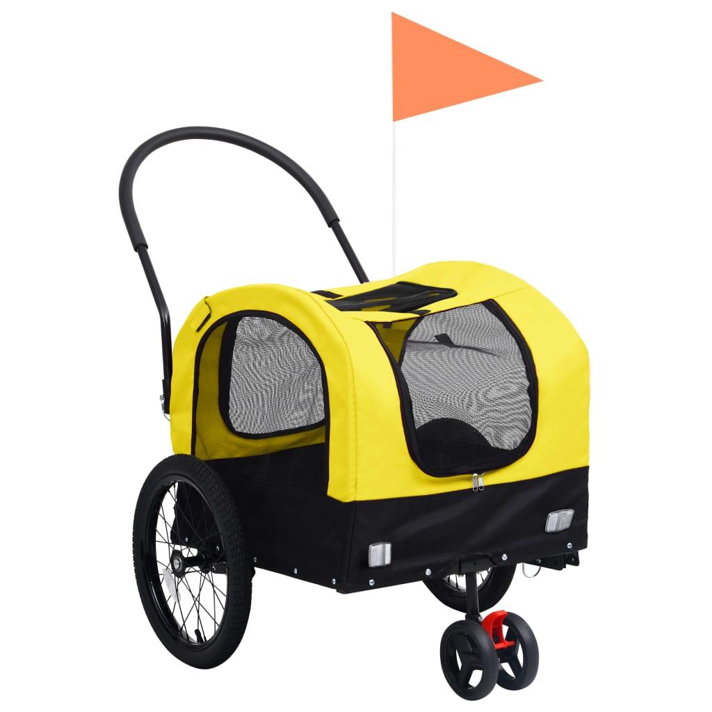 vidaXL 2-i-1 sykkeltilhenger og joggevogn for kjæledyr gul og svart