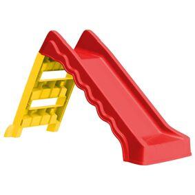 vidaXL Sammenleggbar sklie for barn innendørs utendørs rød og gul