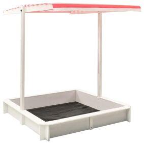 vidaXL Sandkasse med justerbart tak gran hvit og rød UV50