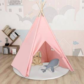 vidaXL Tipi-telt for barn med pose ferskenhud rosa 120x120x150 cm