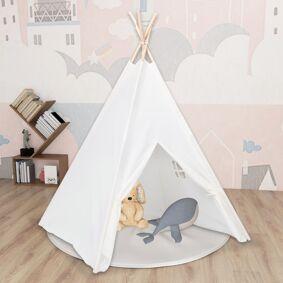 vidaXL Tipi-telt for barn med pose ferskenhud hvit 120x120x150 cm