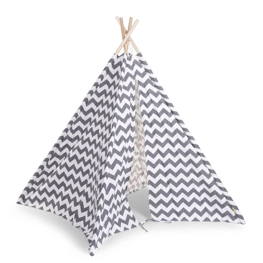 CHILDWOOD Tipi-telt lerret 143x135x135 cm grå og hvit TIPZIG