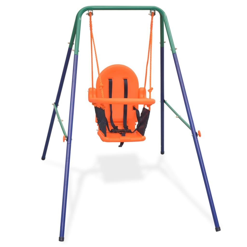 vidaXL Barnehuskesett med sikkerhetssele oransje
