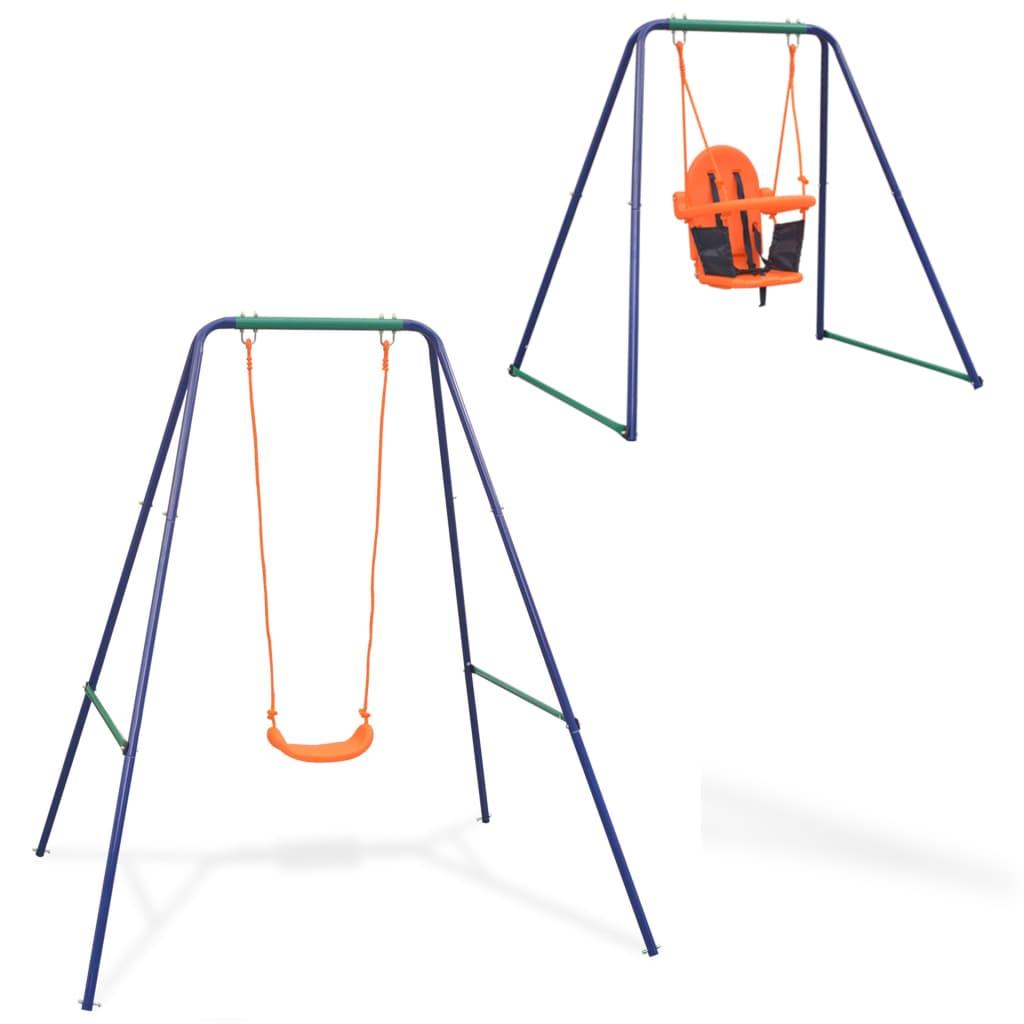 vidaXL 2-i-1 Enkel huske og barnehuske oransje