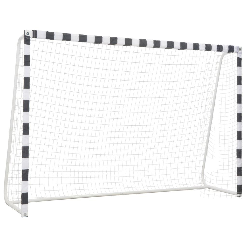 vidaXL Fotballmål 300x200x90 cm metall svart og hvit