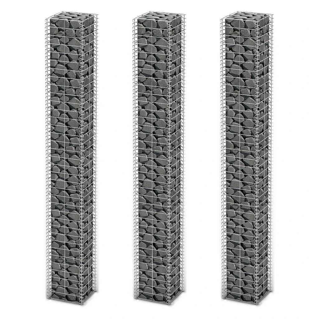 vidaXL Gabionsett 3 stk galvanisert tråd 25 x 25 x 197 cm
