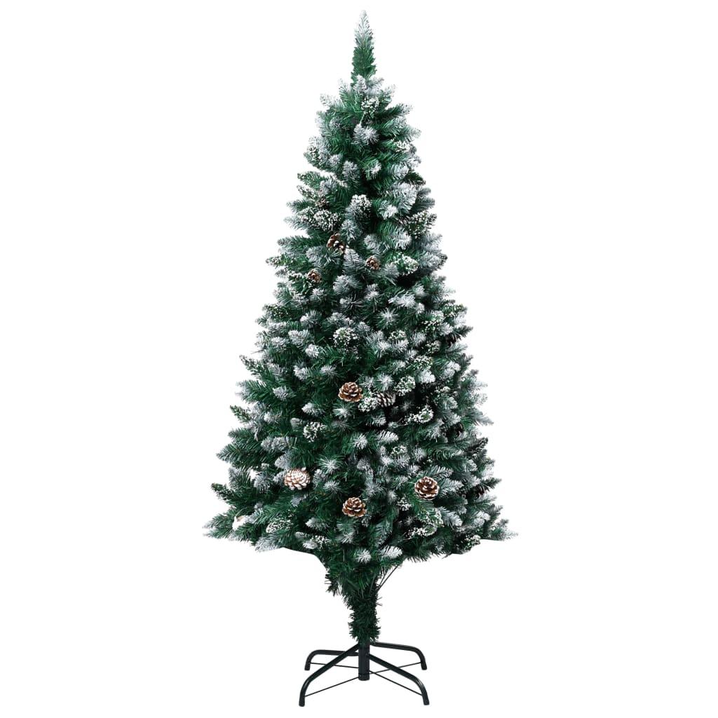 vidaXL Kunstig juletre med furukongler og hvit snø 180 cm