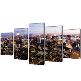 vidaXL Kanvas Flerdelt Veggdekorasjon New York Fugleperspektiv 100 x 50 cm