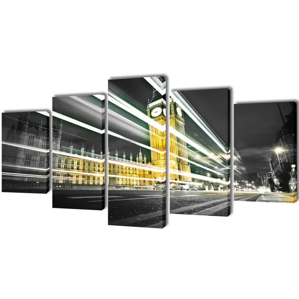 vidaXL Kanvas Flerdelt Veggdekorasjon London Big Ben 100 x 50 cm