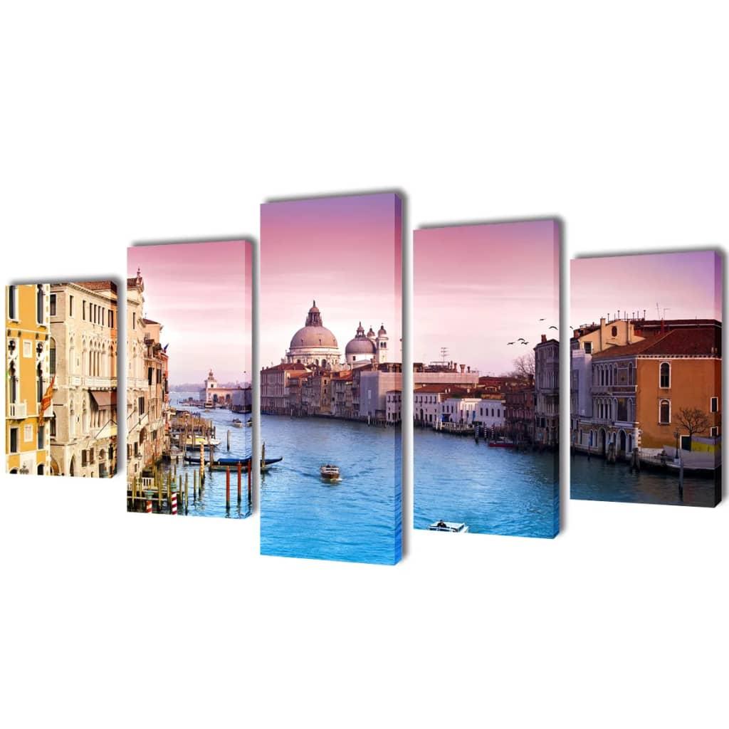 vidaXL Kanvas Flerdelt Veggdekorasjon Venezia 100 x 50 cm