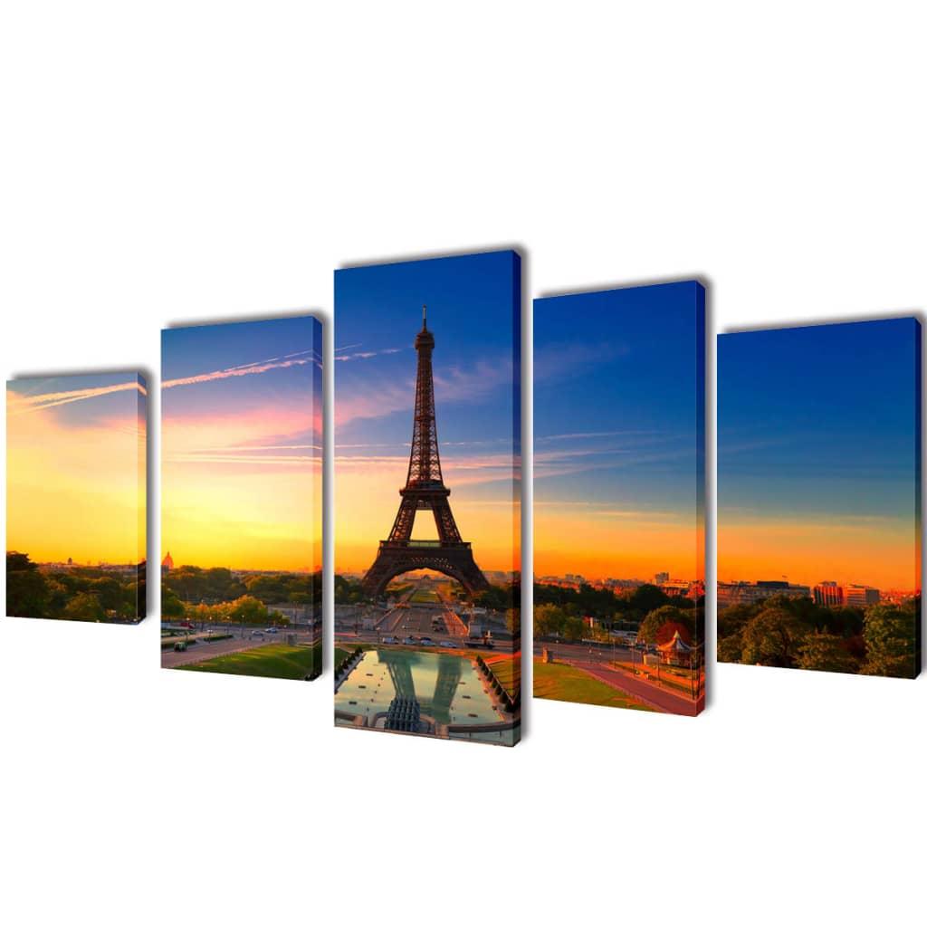 vidaXL Kanvas Flerdelt Veggdekorasjon Eiffel Tower 200 x 100 cm