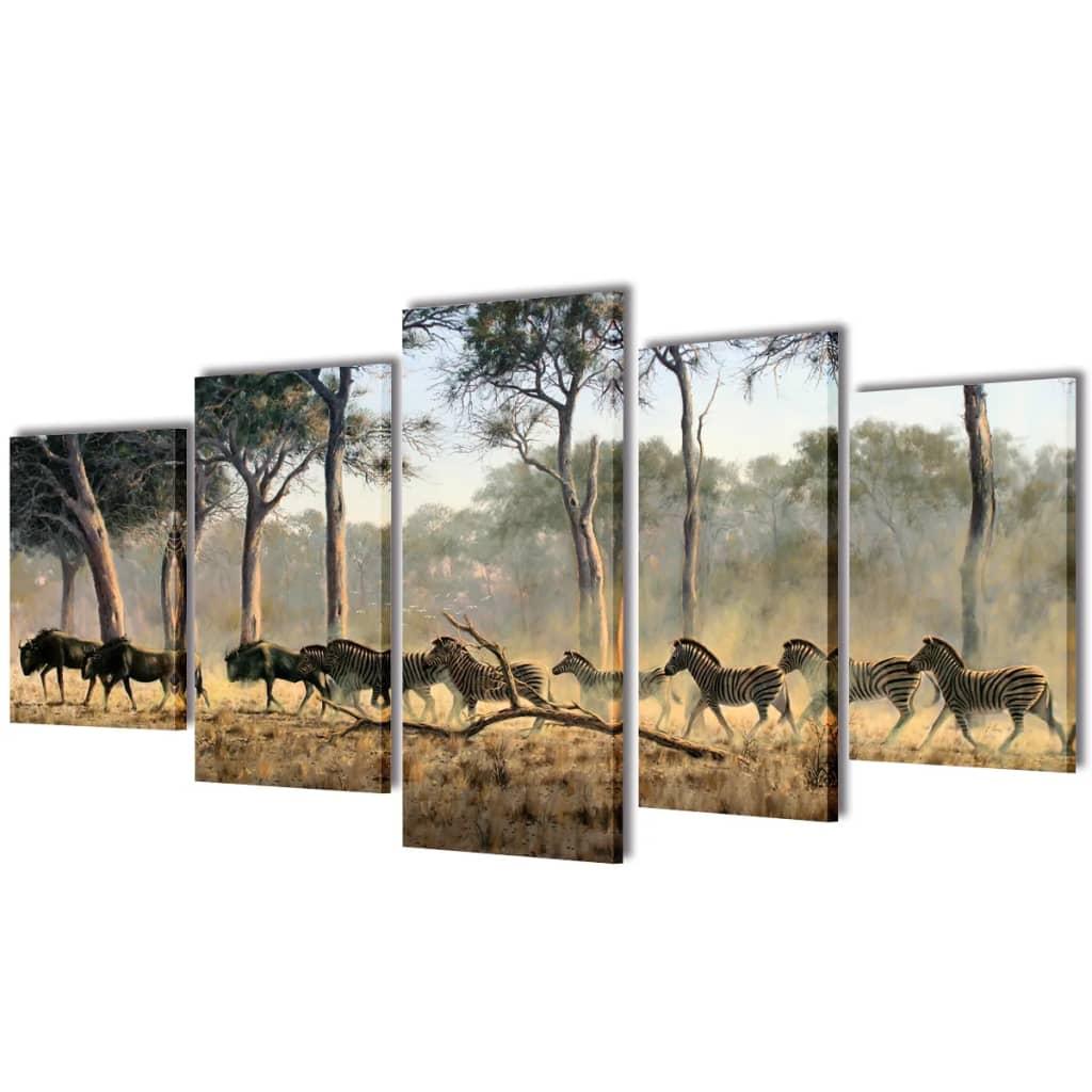 vidaXL Kanvas Flerdelt Veggdekorasjon Sebra 100 x 50 cm