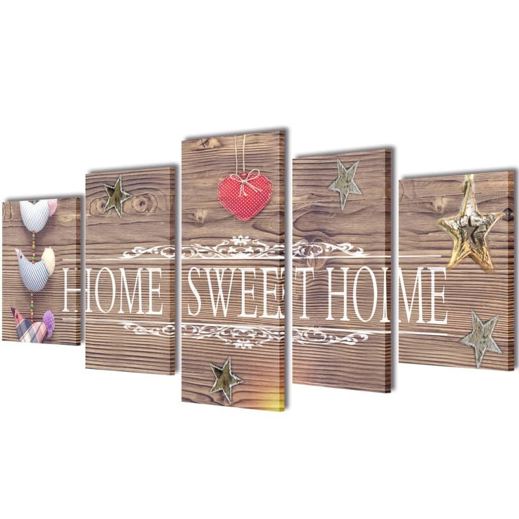 vidaXL Kanvas Flerdelt Veggdekorasjon Home Sweet Home Design 200 x 100 cm