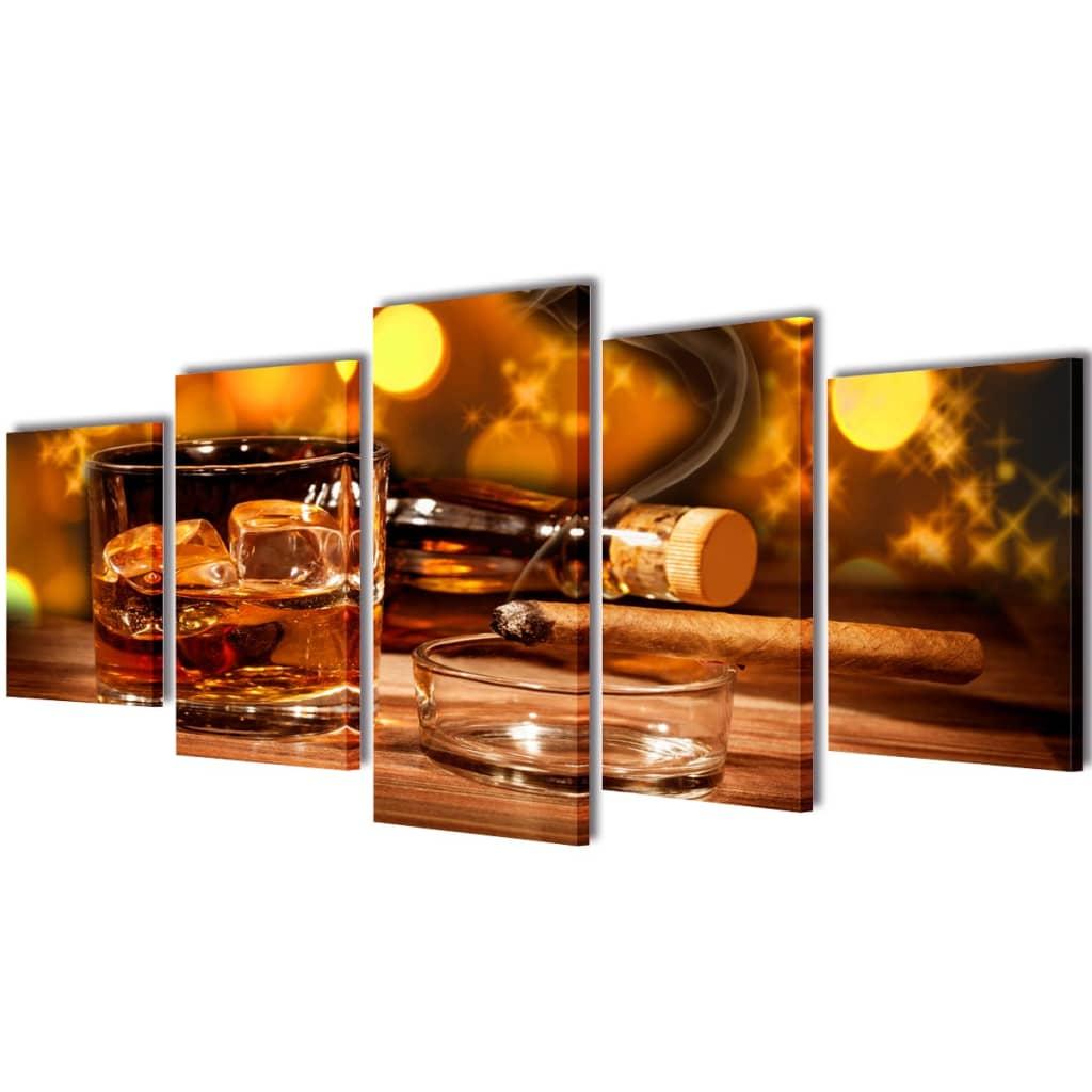 vidaXL Kanvas Flerdelt Veggdekorasjon Whiskey og Sigar 200 x 100 cm