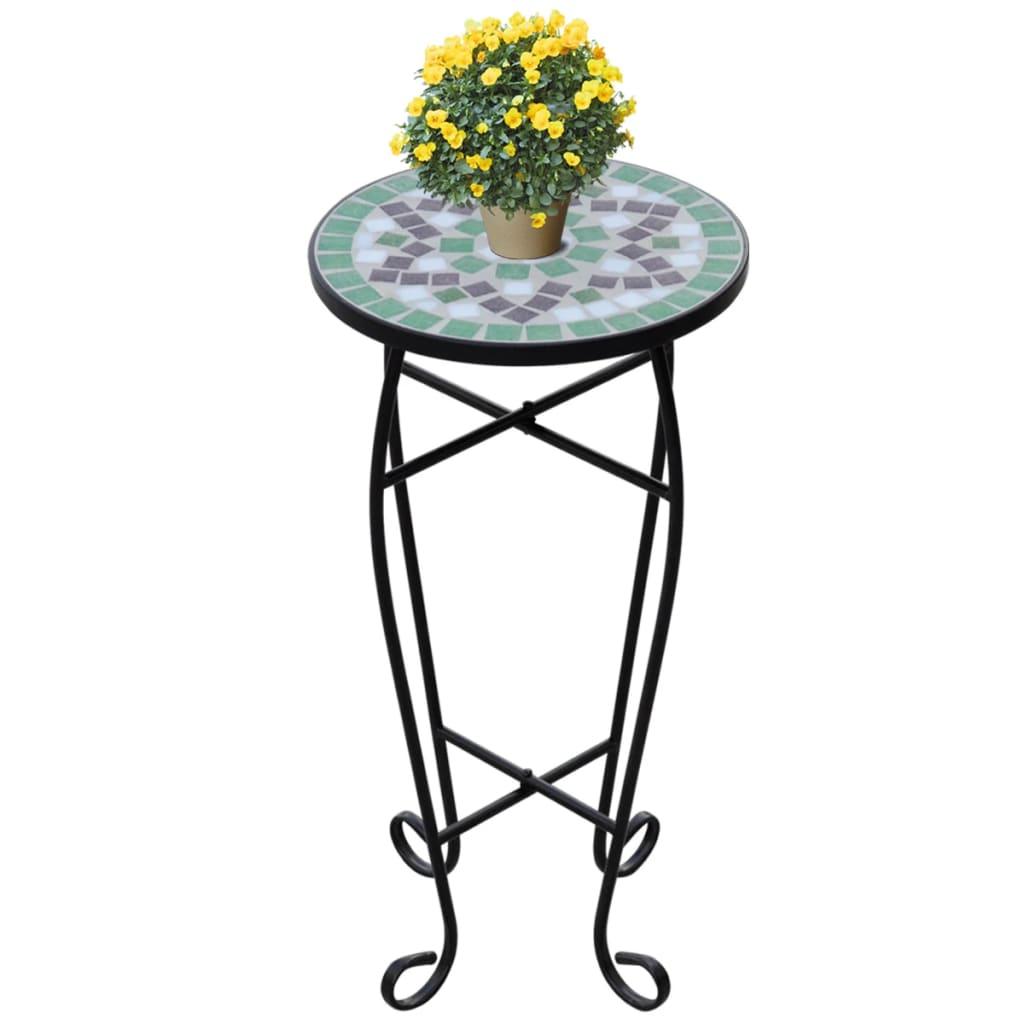vidaXL Side-/plantebord mosaikk grønn hvit