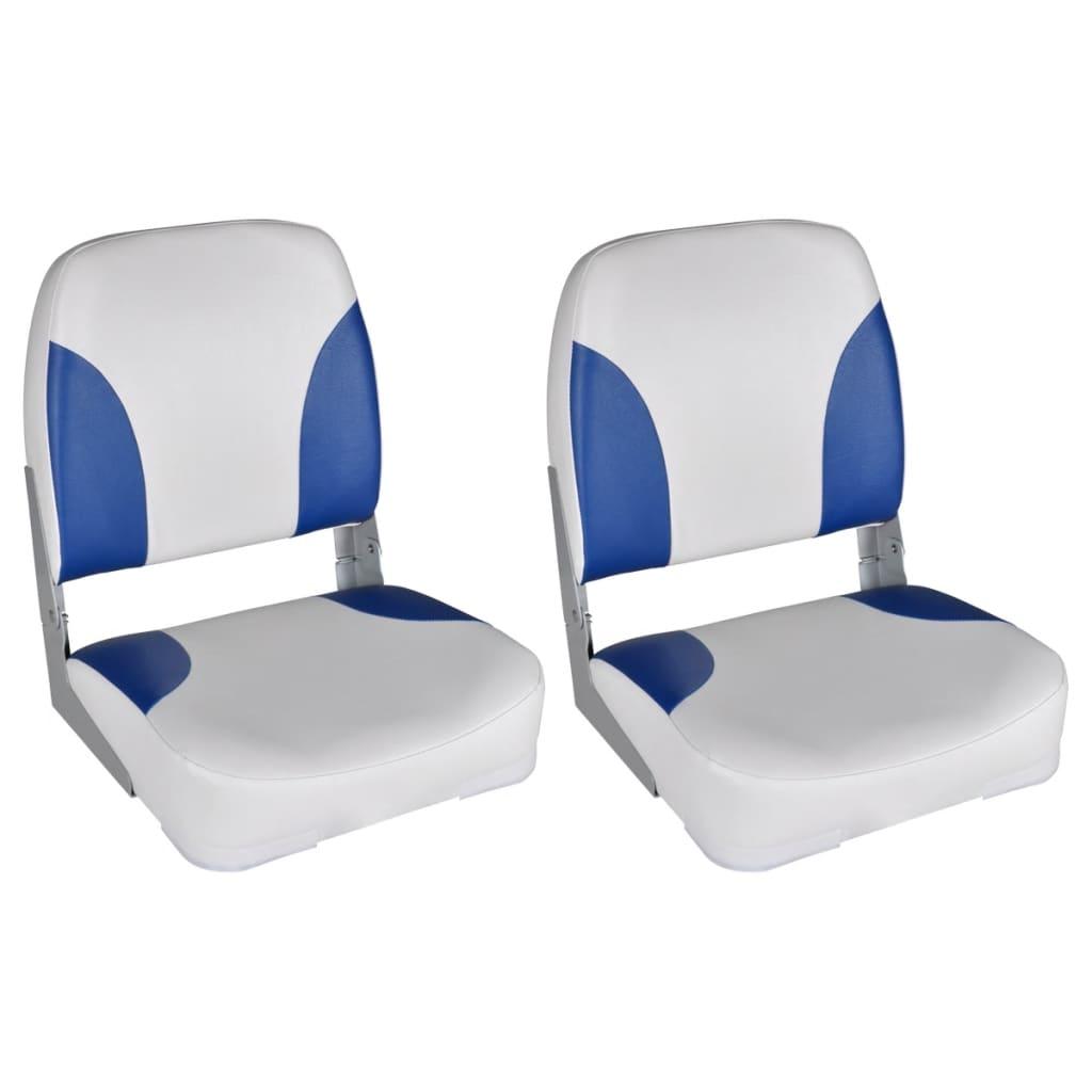 vidaXL Båtseter 2 stk sammenleggbar rygg med blå-hvit pute 41x36x48 cm