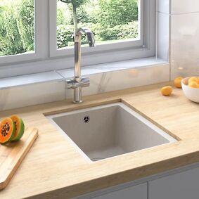 vidaXL Kjøkkenvask med overløpshull beige granitt