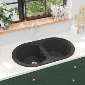 vidaXL Kjøkkenvask med dobbel kum oval svart granitt