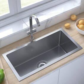 vidaXL Håndlaget kjøkkenvask med sil rustfritt stål