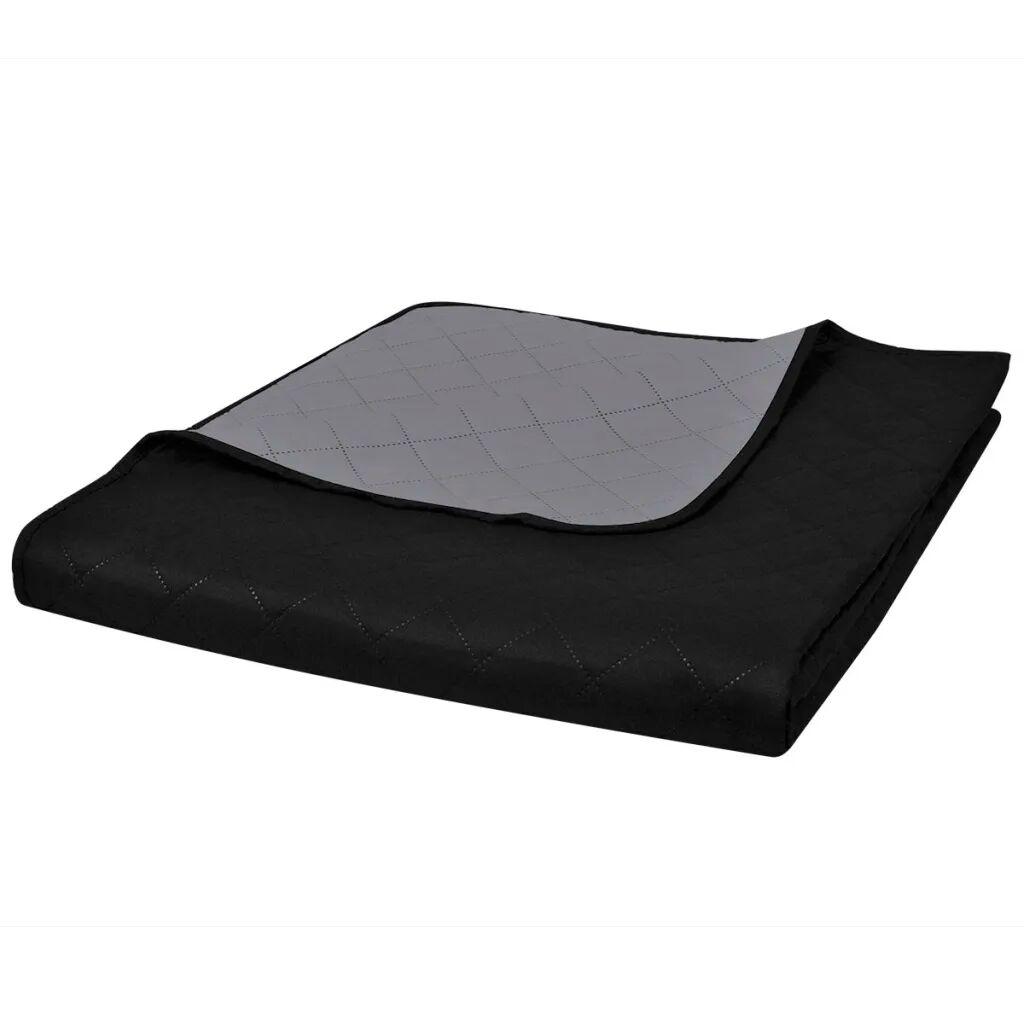 vidaXL Tosidig vattert sengeteppe svart/grå 220 x 240 cm
