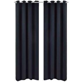 vidaXL Lystette gardiner 2 stk med metallmaljer 135x175 cm svart